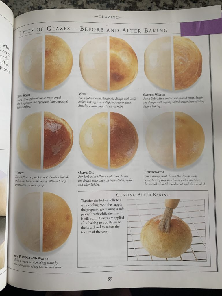 A closeup of page 59 from the Bread book showing round loaves of bread before and after using different glazes in baking.