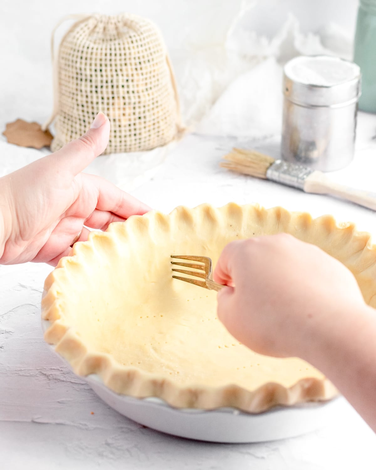 docking a pie crust to prevent bubbles
