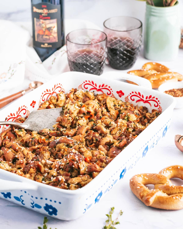 pretzel stuffing in a casserole dish