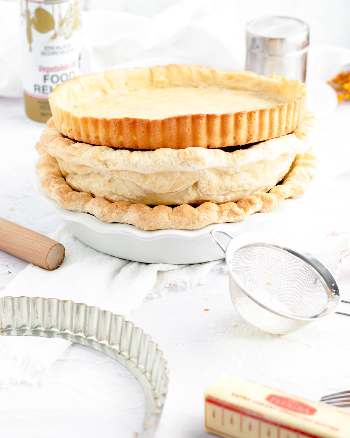a stack of pie and tart crusts