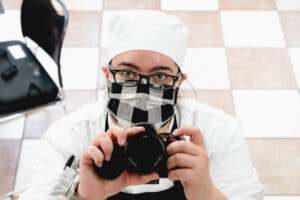 a self portrait of rebecca in pastry school