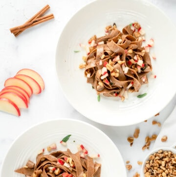 pumpkin spice pasta with apple sage brown butter sauce and walnuts