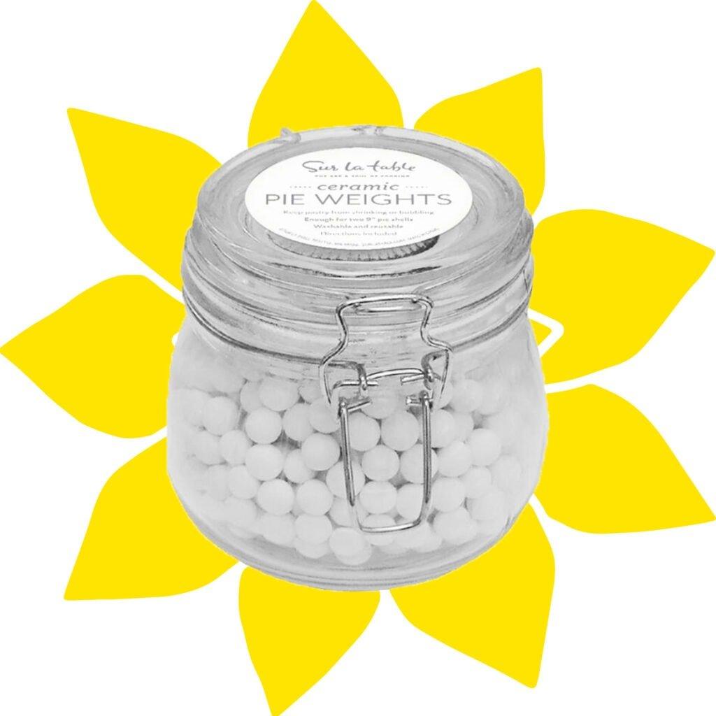 pie weights in a glass jar