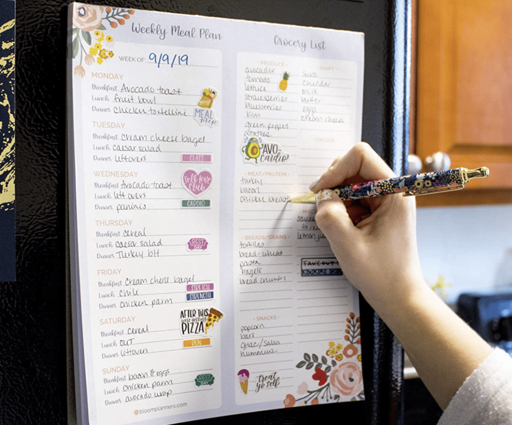 mean planning pad with categorized grocery list