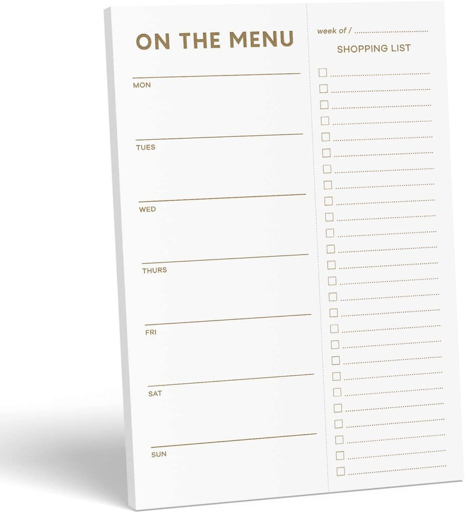minimalist meal planner with grocery list