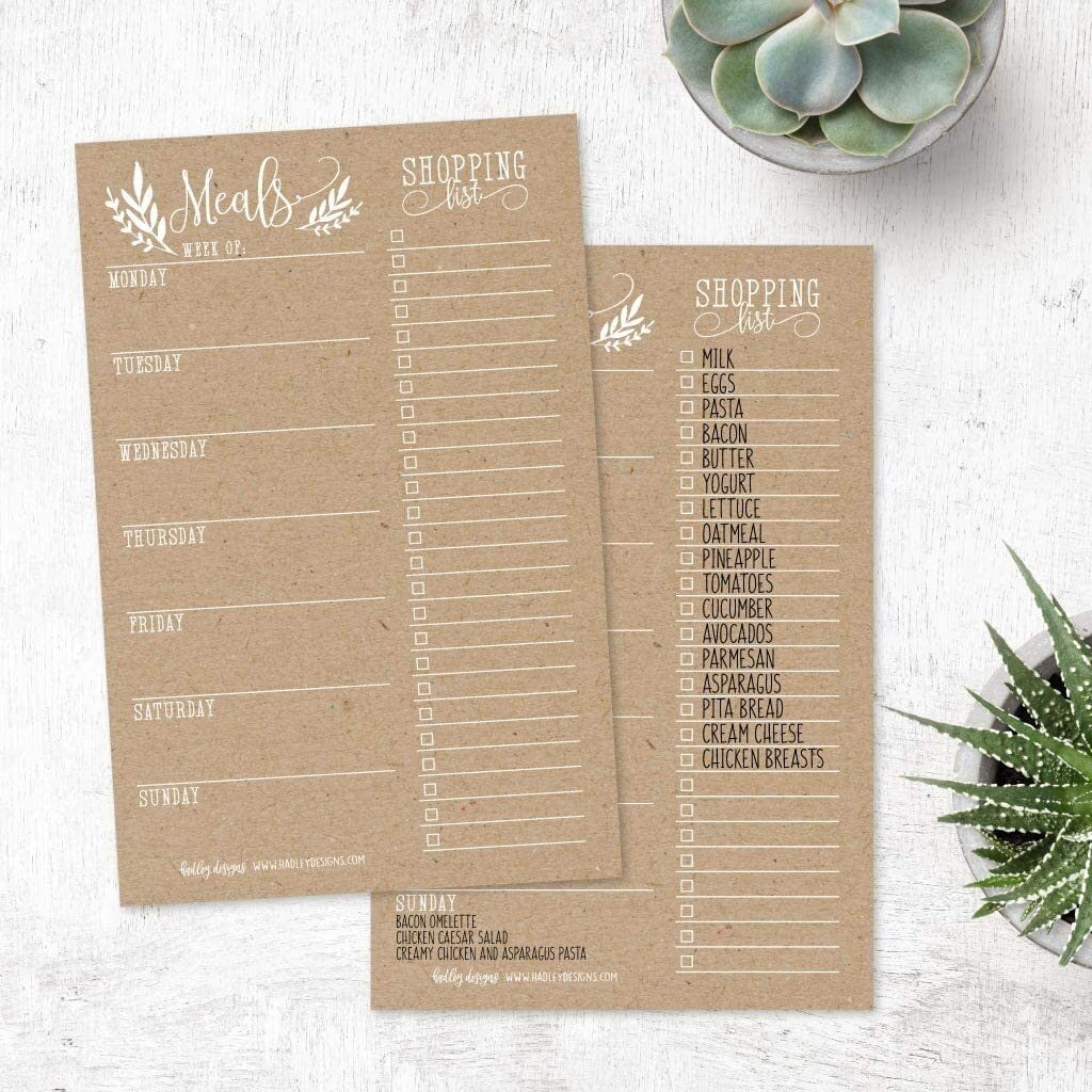 rustic meal planner and grocery list