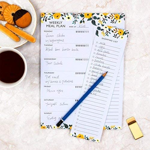 yellow floral weekly planning pad with water tracker