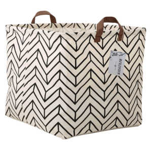 small laundry bin for towels with a chevron pattern