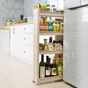 narrow rolling kitchen storage cart