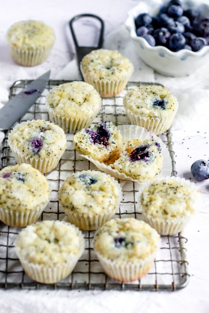 a close up of mini muffins on a cooling rack. one muffin has been cut open revealing a blueberry center.
