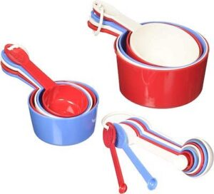 a set of red white and blue measuring cups and spoons