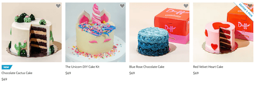 photos of four cakes available from ace of cakes on goldbelly