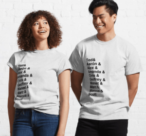 two models wearing white t-shirts that have the names of the chopped judges listed down the righthand side
