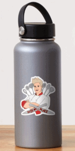 """a silver water bottle with an illustrated sticker of chef anne burrell and the words """"mise en place"""" over two crossed knives"""
