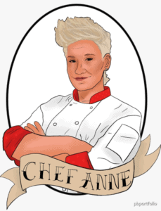 An illustration of Chef Anne in her white chefs coat with her name on banner in tattoo font on the bottom