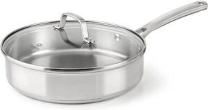"""a high sided 10"""" stainless steel saute pan with glass lid"""