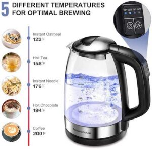 a clear electric kettle with a temperature scale next to it showing 5 different heat settings