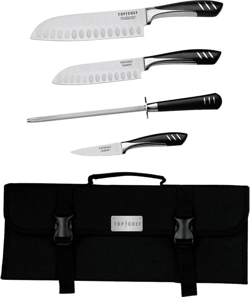 two chef knives a honing steel and a paring knife all with curved dark wood handles and the top chef logo and a nylon branded carrying case