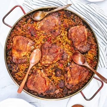 chicken and ham paella