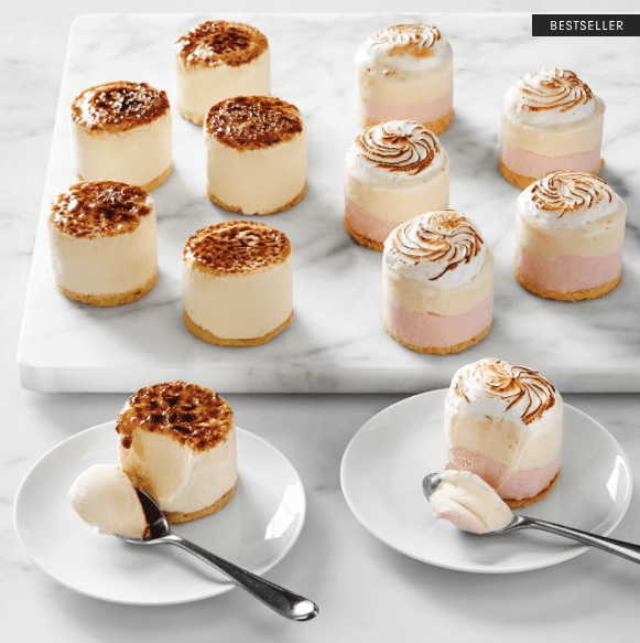 mini creme brulee and baked alaska ice cream cakes